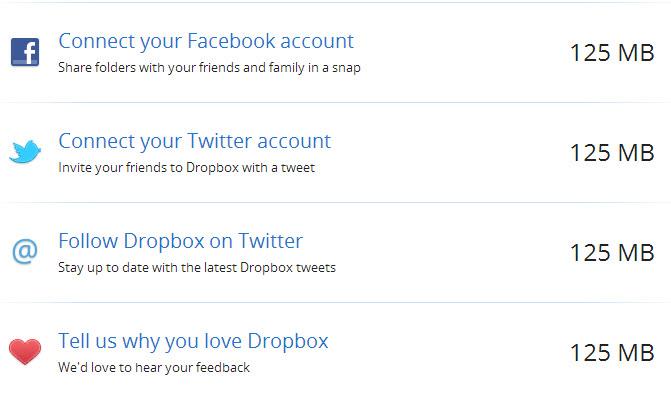 dropbox gain free space